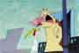 COW & CHICKEN Cow & Chicken Walking Original Animation Cel